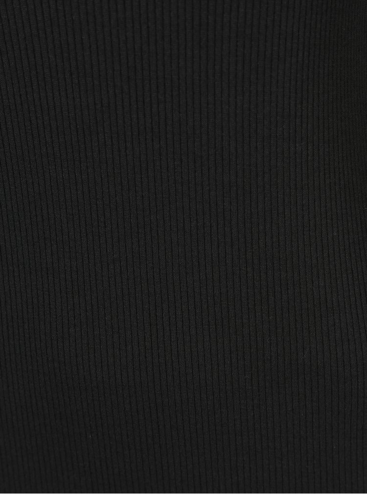 Černé žebrované minišaty s detailem v dekoltu Miss Selfridge Petites