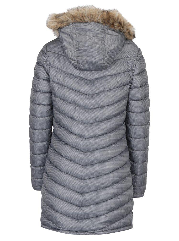 Šedý dámský zimní prošívaný vzorovaný kabát Superdry Chevron