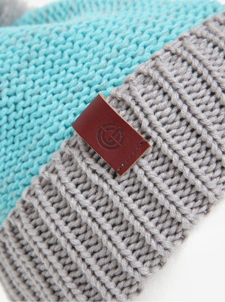 Caciula tricotata cu pompon albastru & gri pentru femei - Nugget Medea