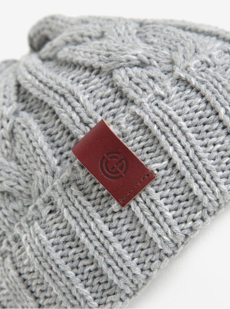 Caciula gri tricotata cu torsade pentru femei - Nugget Sisi