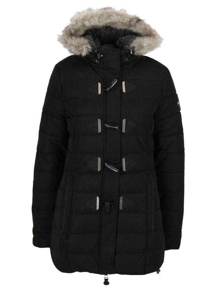 Černá dámská zimní prošívaná bunda s kapucí Superdry Tall