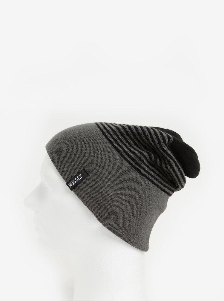 Caciula gri cu model in dungi negre pentru barbati - Nugget Token