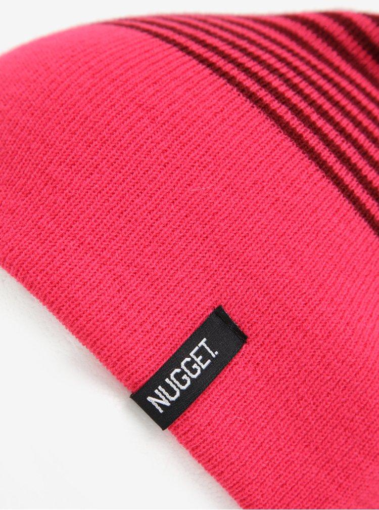 Caciula bordo cu model cu dungi roz pentru femei -  Nugget Token