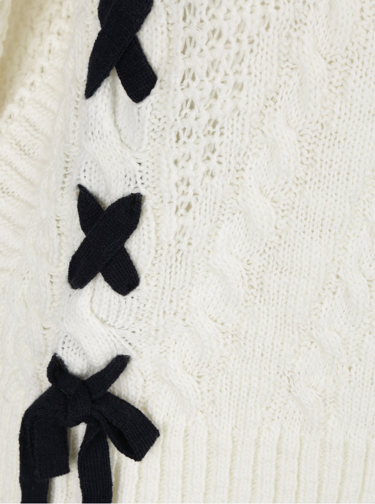 Krémový svetr s černým vázáním Miss Selfridge