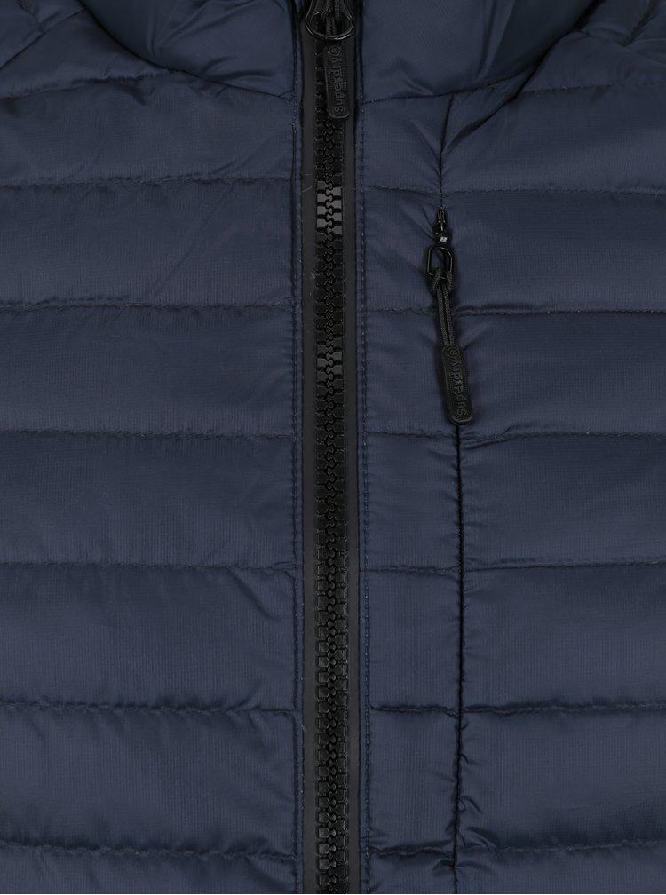 Tmavě modrá pánská lehká péřová prošívaná bunda Superdry Core