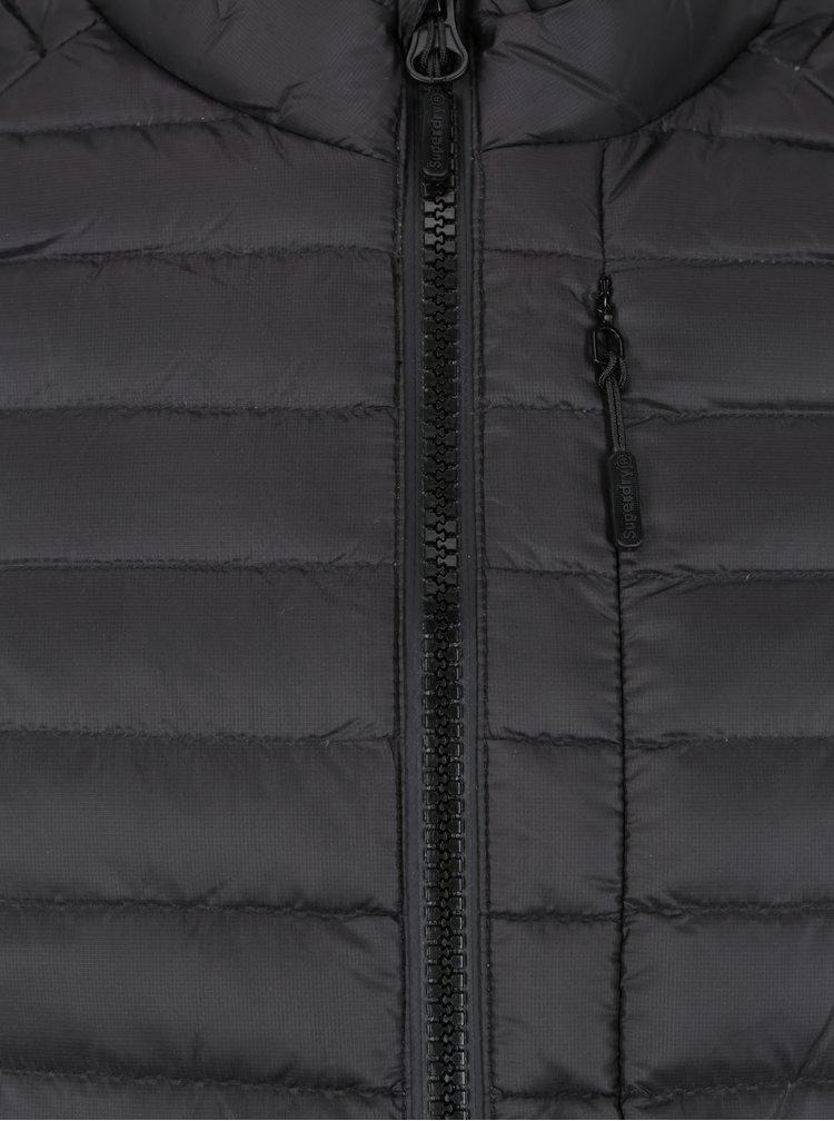 Černá pánská lehká péřová prošívaná bunda Superdry Core
