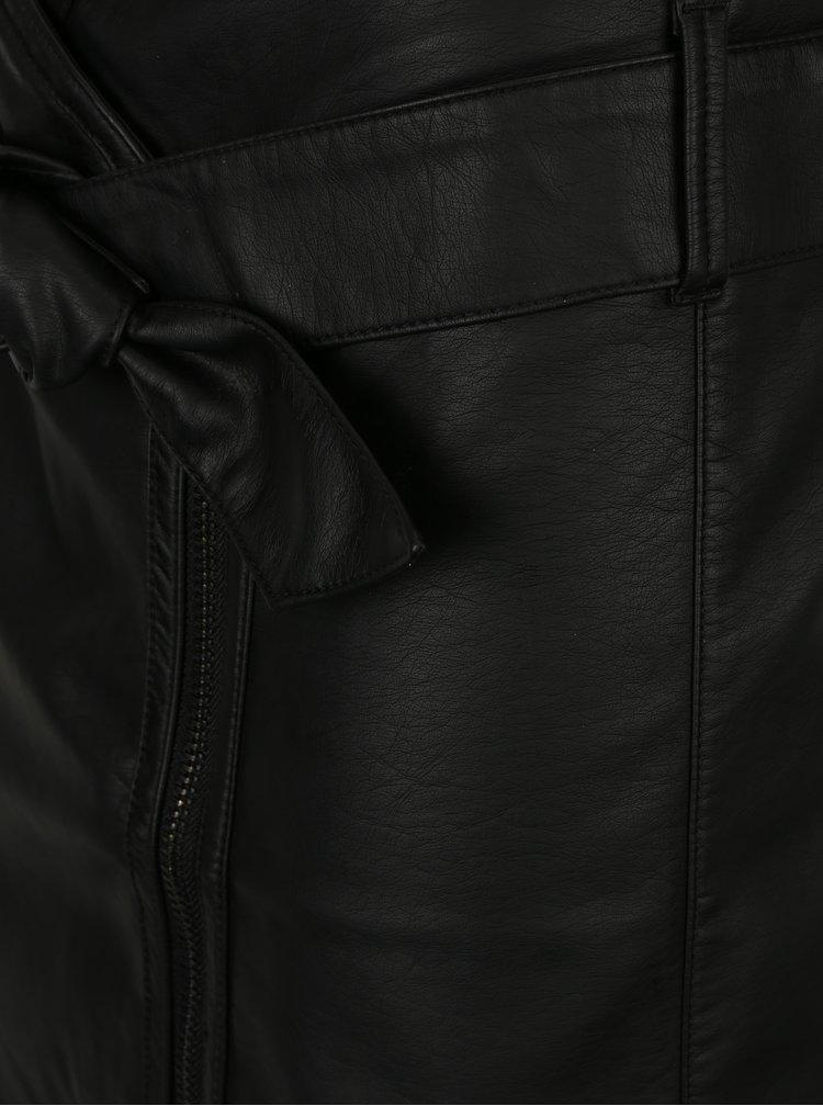 Černá koženková sukně se zipem Garcia Jeans