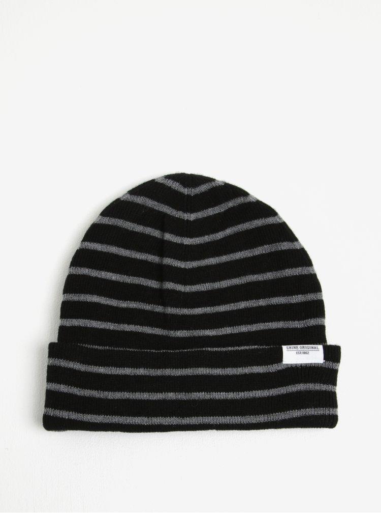 Šedo-černá pruhovaná čepice Shine Original