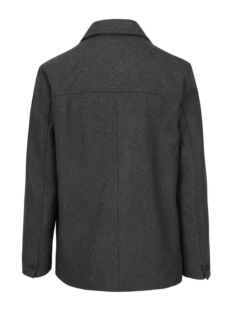 Šedý pánský žíhaný vlněný kabát Garcia Jeans