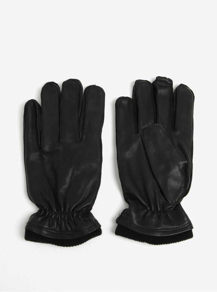 Černé kožené rukavice Shine Original