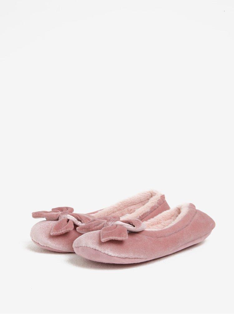 Světle růžové papuče s mašlí Dorothy Perkins