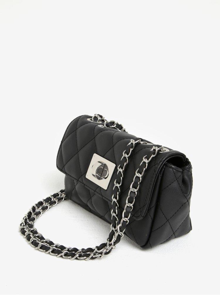 Černá prošívaná crossbody kabelka s řetízkem Dorothy Perkins