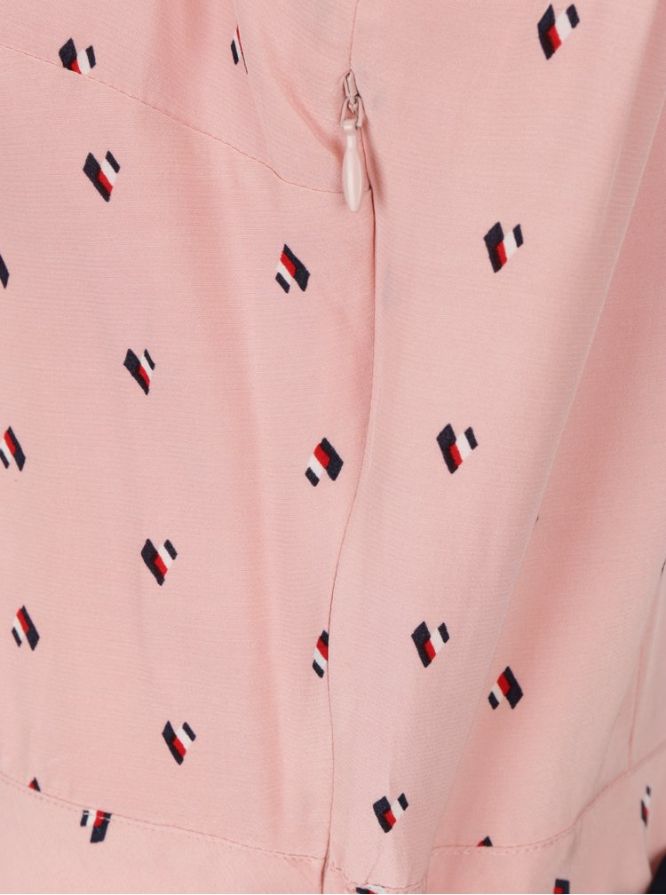 Světle růžové vzorované šaty s límečkem Tommy Hilfiger