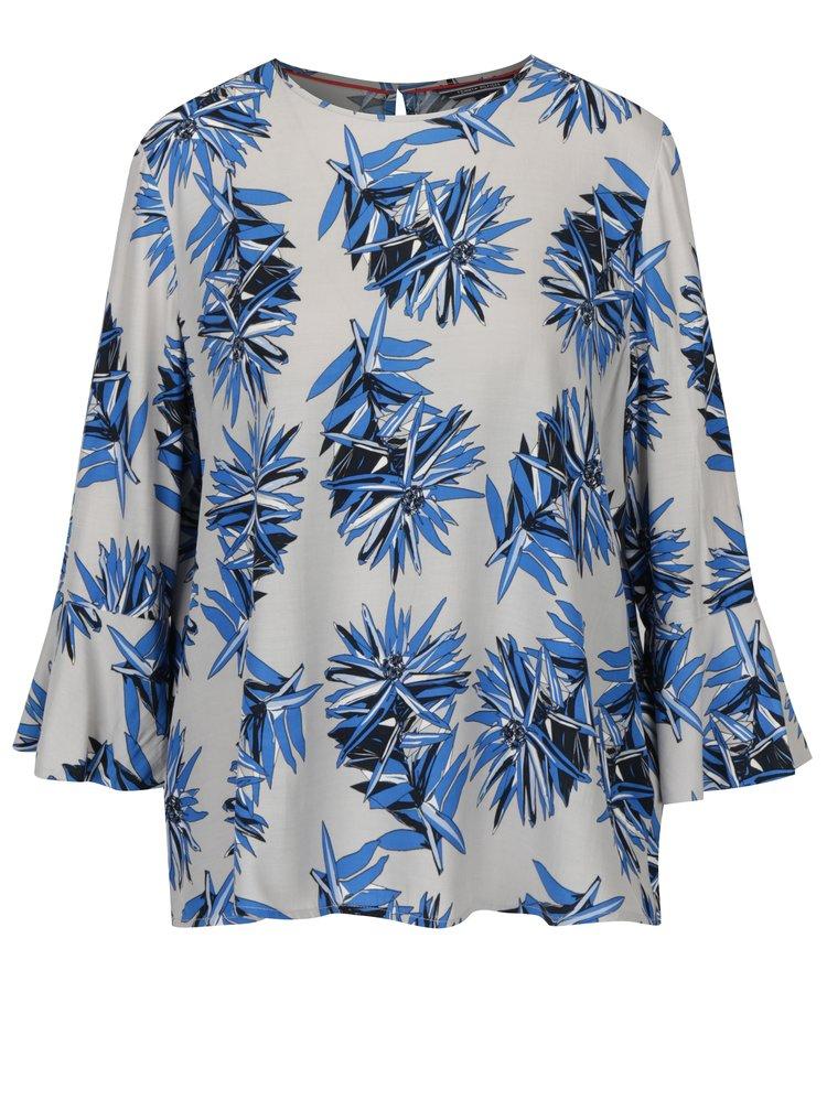 Modro-šedá květovaná halenka Tommy Hilfiger