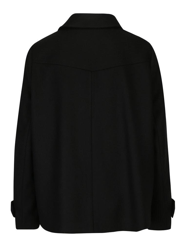 Černý dámský vlněný zimní kabát Tommy Hilfiger