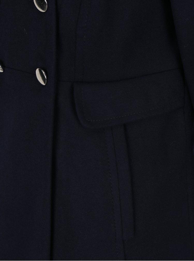 Tmavě modrý kabát s umělou kožešinou Dorothy Perkins Petite