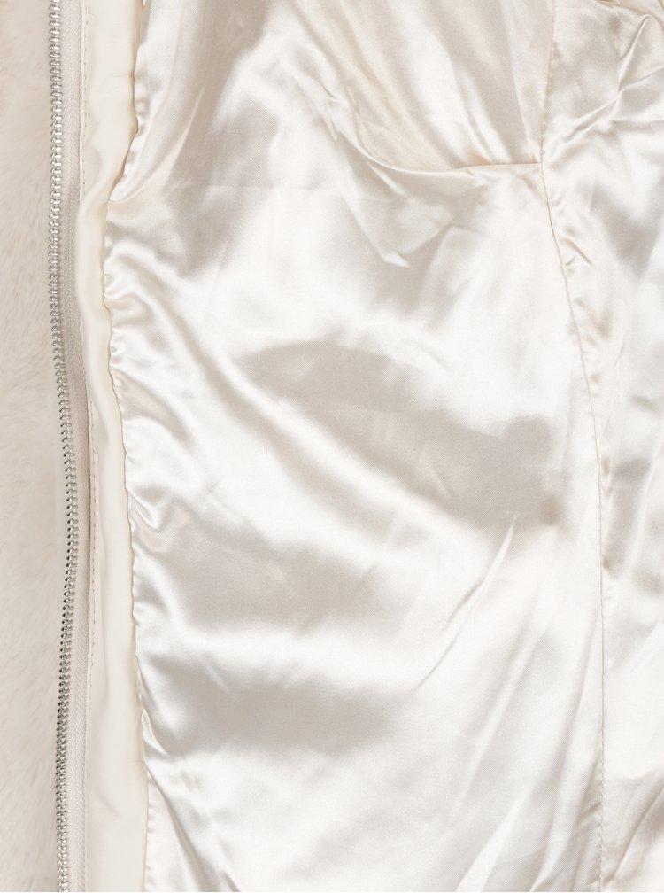 Krémový krátký kabát z umělé kožešiny Dorothy Perkins Petite