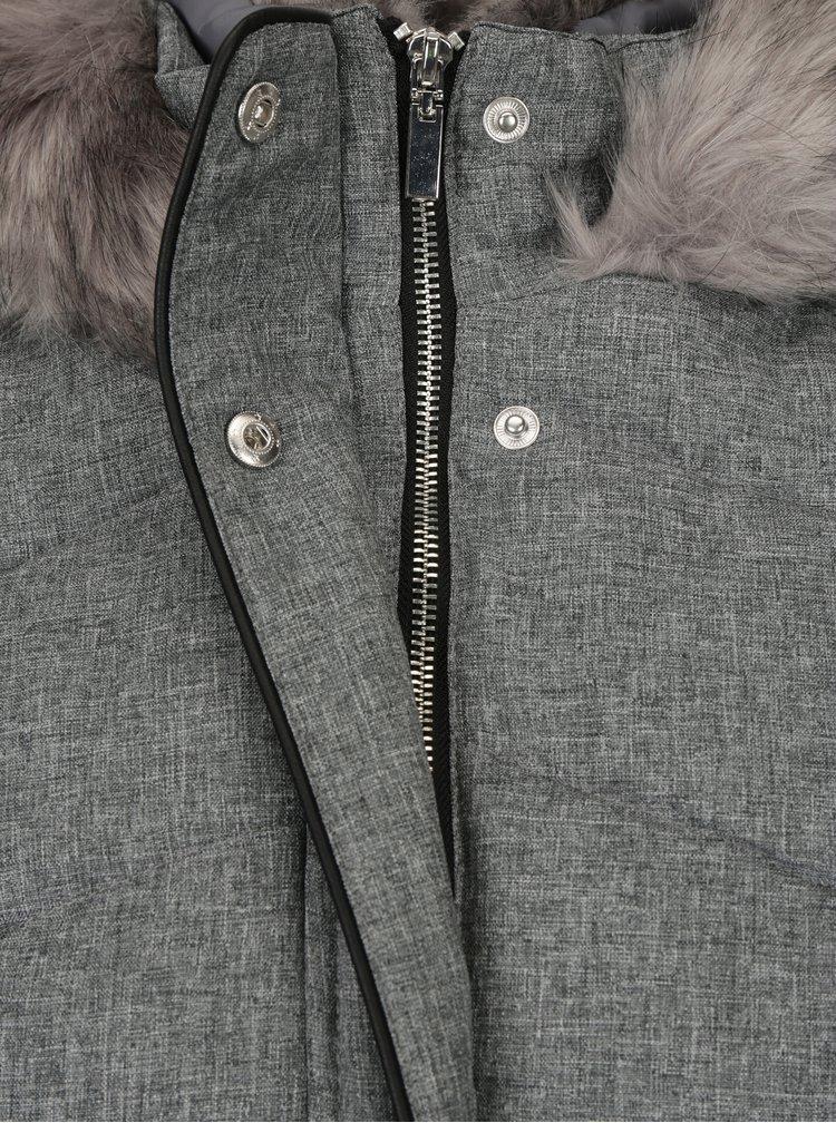 Šedý žíhaný prošívaný kabát s umělým kožíškem Dorothy Perkins