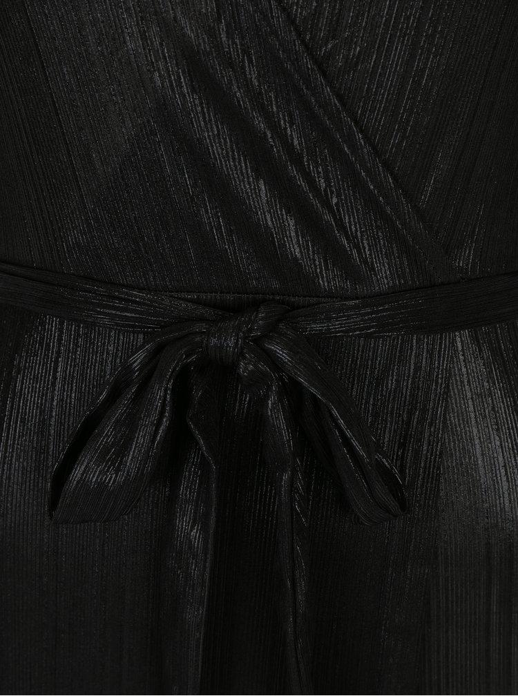 Černé lesklé maxišaty s překládaným výstřihem Mela London