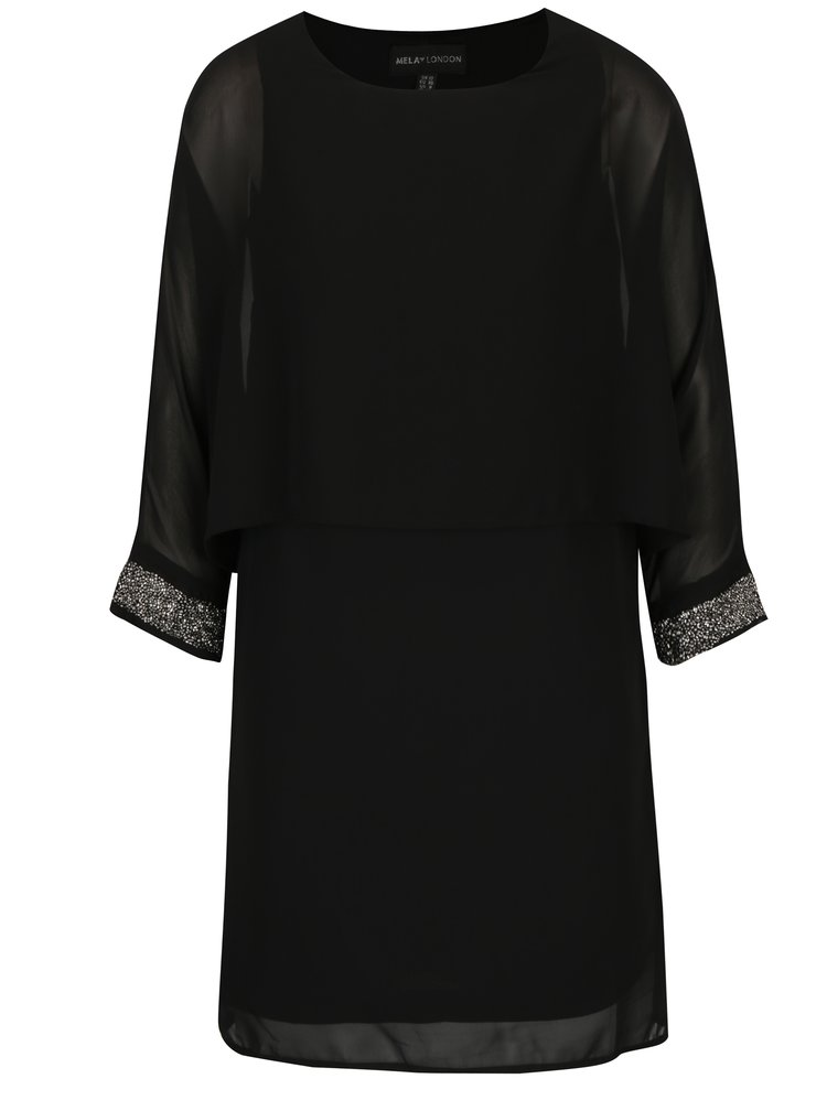 Černé šaty s ozdobnými detaily Mela London