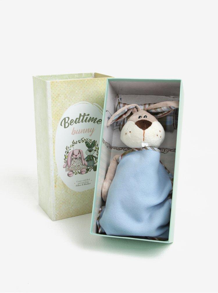 Modro-béžový plyšový králíček s přikrývkou a polštářem Something Special