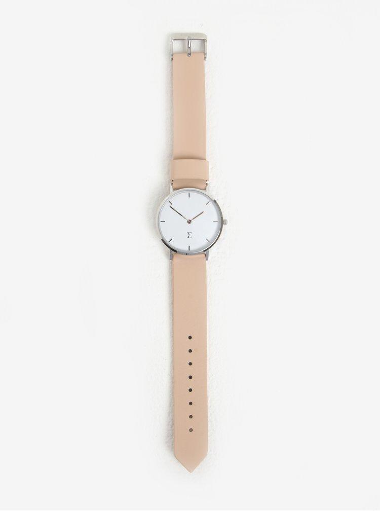 Dámské hodinky ve stříbrné barvě s koženým páskem Esoria Alys