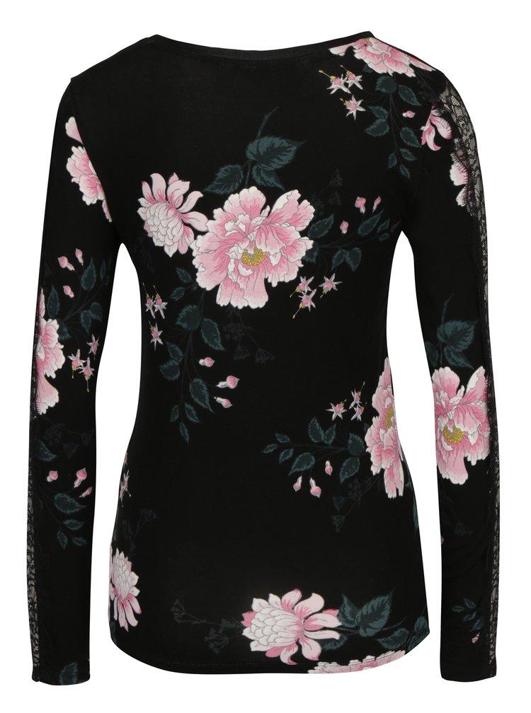Bluza neagra cu print floral si dantela pe maneca Dorothy Perkins