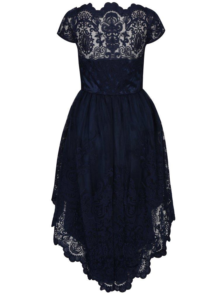Tmavě modré krajkové šaty s prodlouženou zadní částí Chi Chi London Ellia
