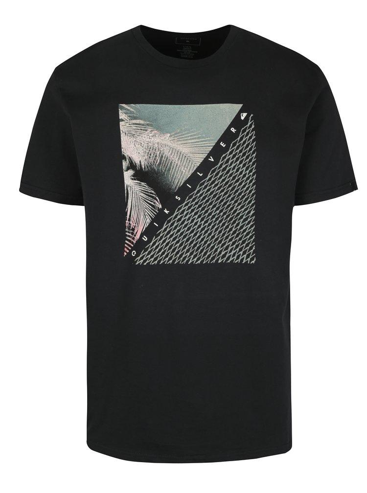Černé pánské regular fit tričko s potiskem Quiksilver Coast Lines
