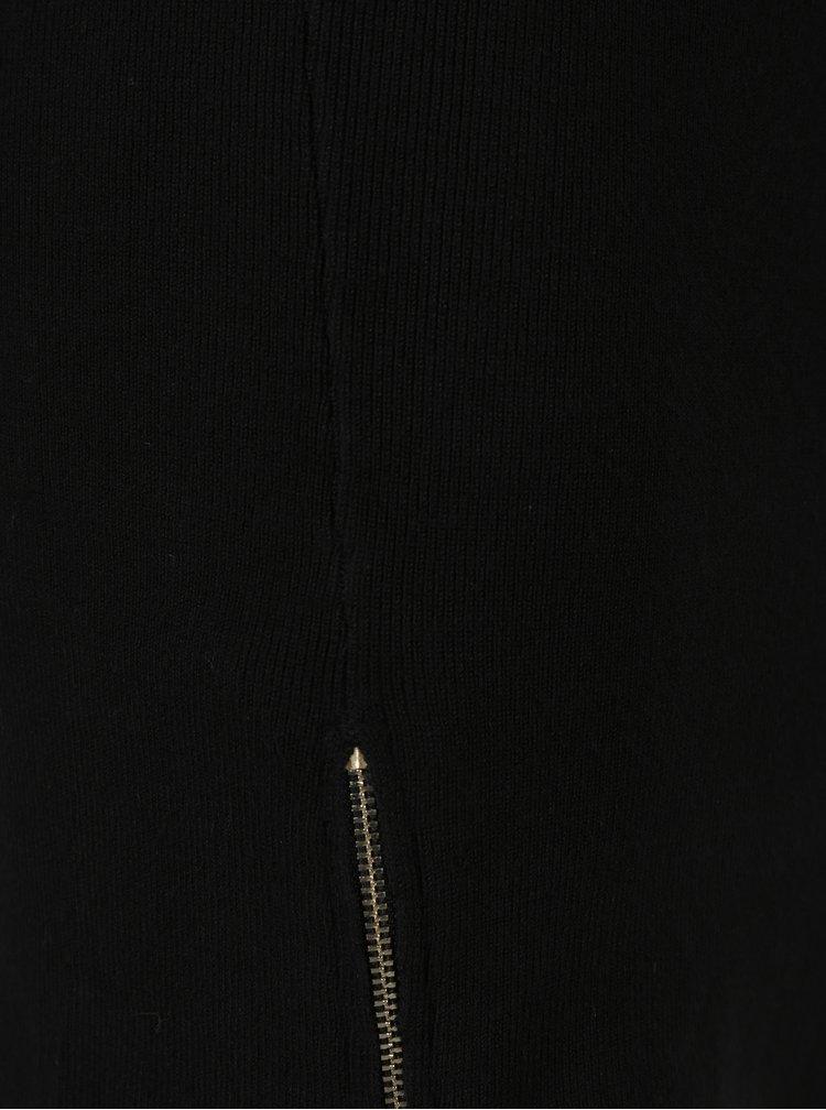 Rochie pulover nagra cu fermoare decorative Dorothy Perkins Petite