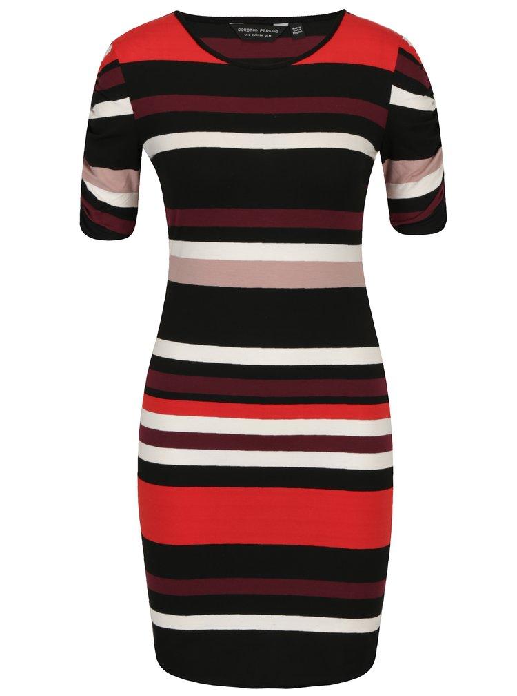 Červeno-černé pruhované pouzdorvé šaty Dorothy Perkins