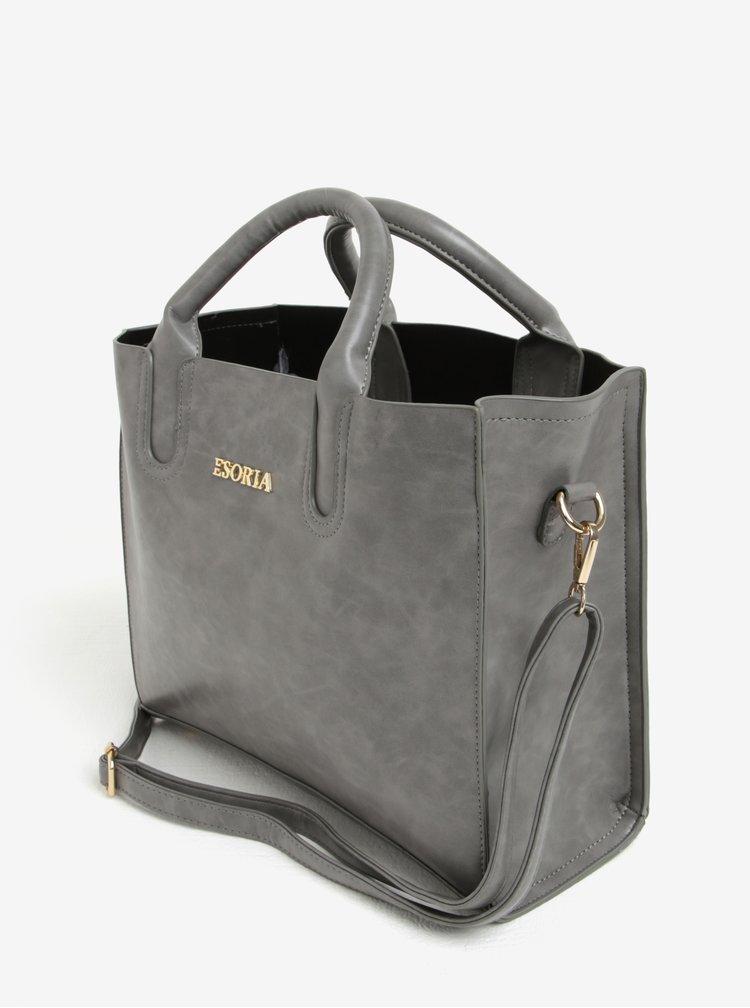 Šedá kabelka s detaily ve zlaté barvě Esoria Monda