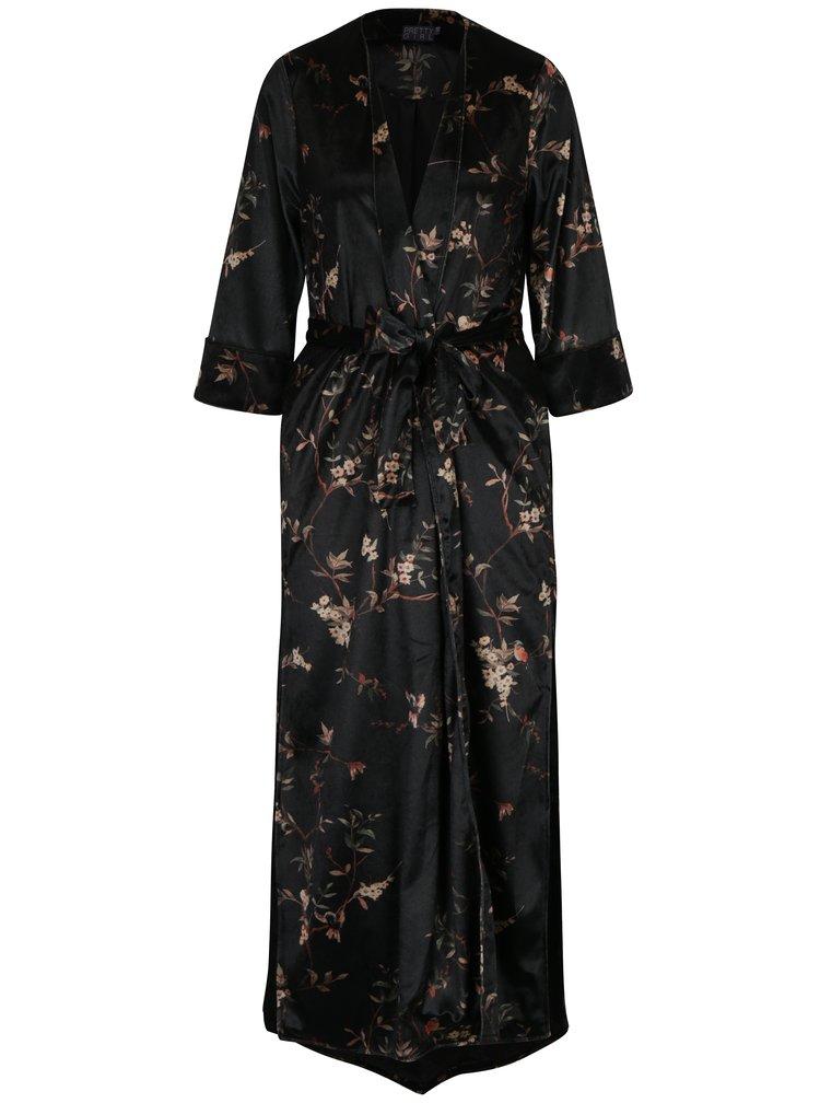 Tmavozelené zamatové kimono Pretty Girl