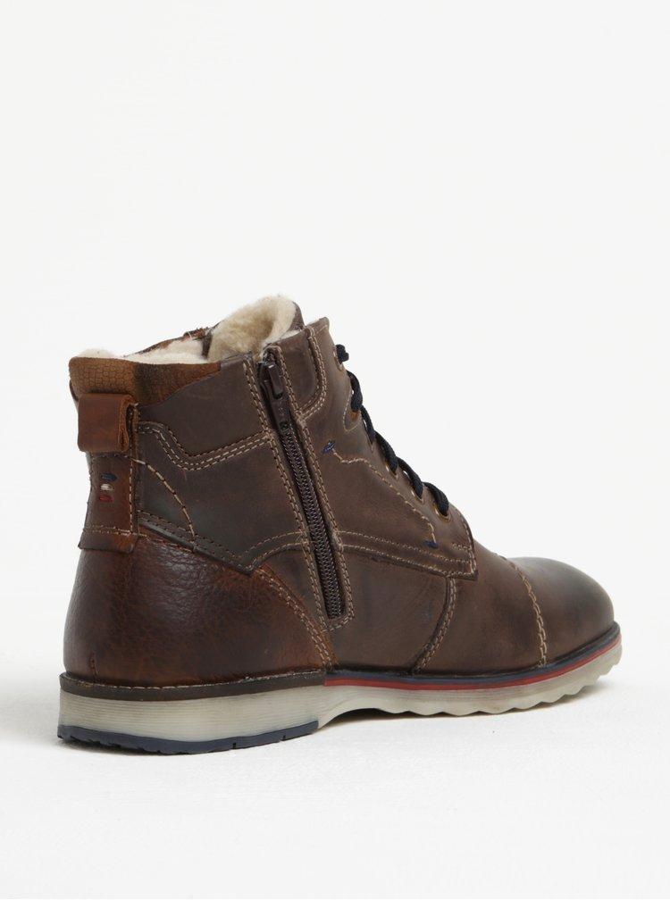 Tmavě hnědé pánské kožené kotníkové zimní boty s.Oliver