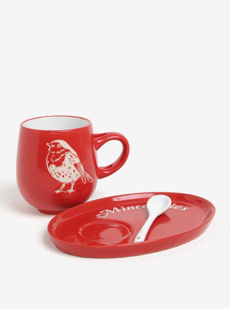 Set de cana rosie din ceramica cu farfurie si lingura - CGB