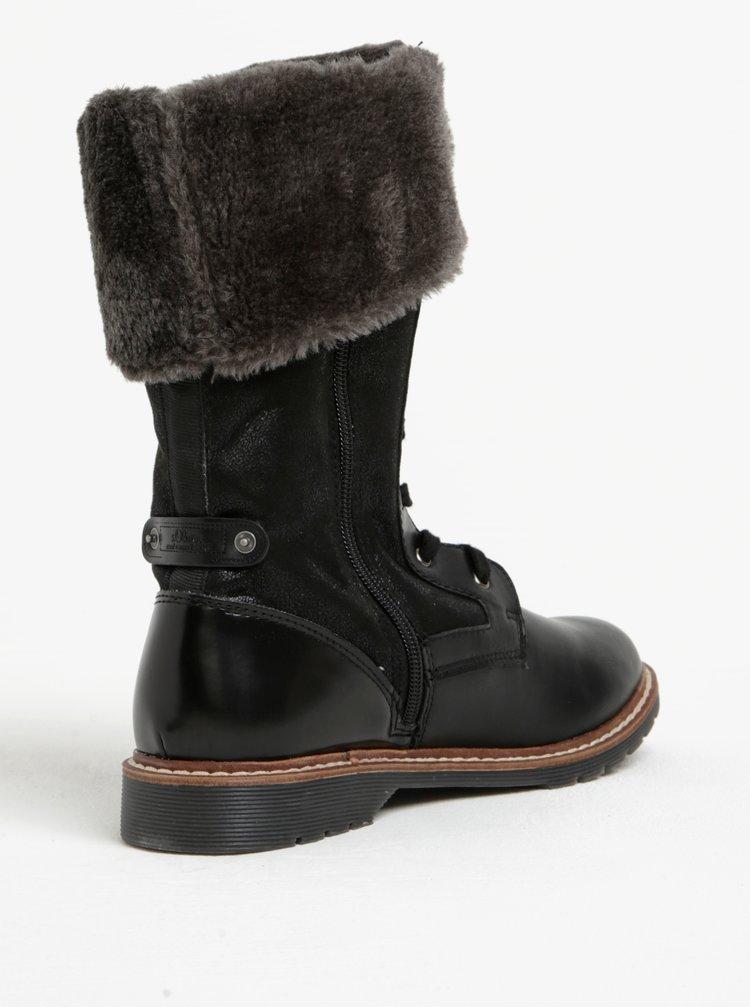 Černé dámské zimní boty s umělým kožíškem s.Oliver
