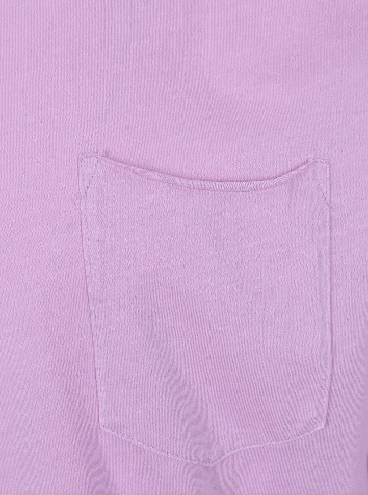Růžové tričko s dlouhým rukávem a náprsní kapsou Shine Original