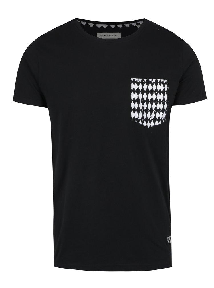 Černé tričko s krátkým rukávem a vzorovanou náprsní kapsou Shine Original