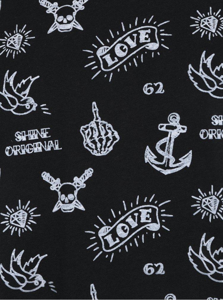 Černé vzorované tričko s krátkým rukávem Shine Original