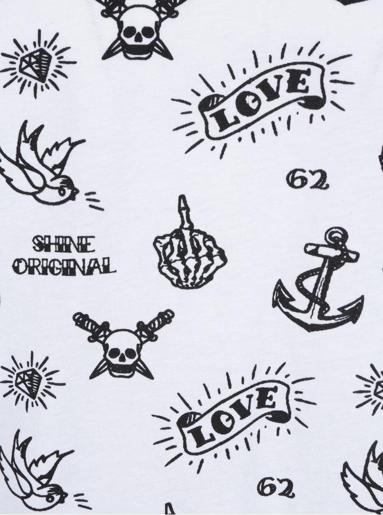 Bílé vzorované tričko s krátkým rukávem Shine Original