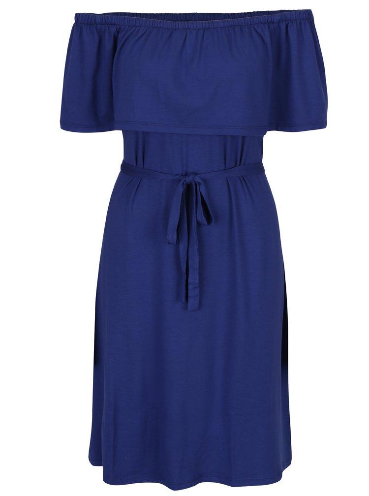Modré rovné šaty s odhalenými rameny Dorothy Perkins