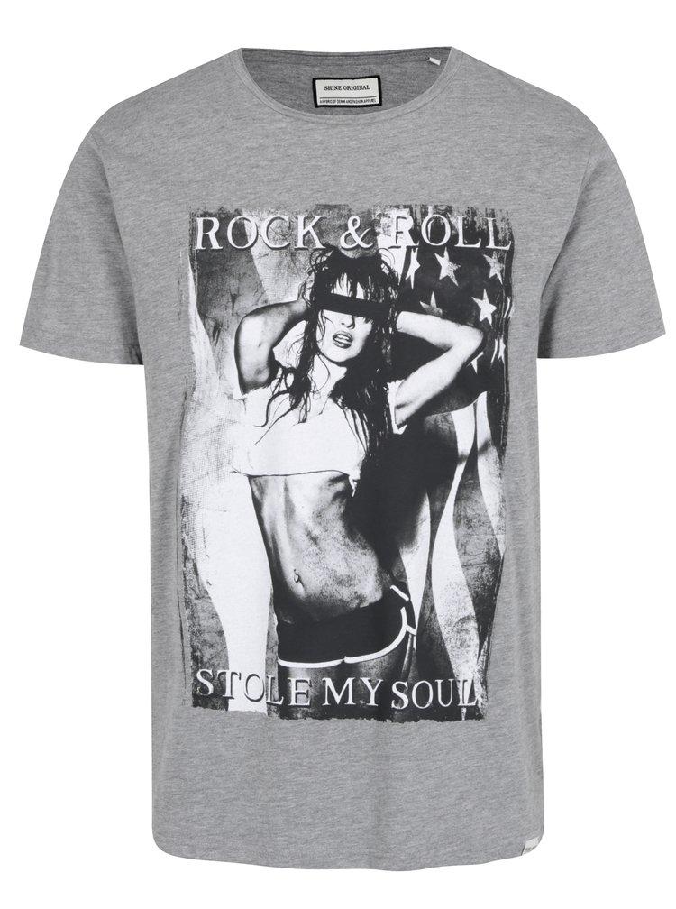 Tricou gri melanj din bumbac cu print Rock&Roll - Shine Original