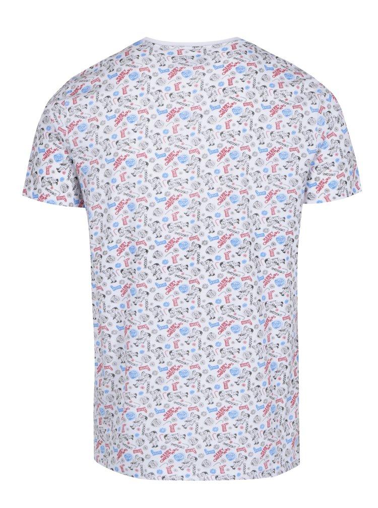 Bílé vzorované tričko s náprsní kapsou Shine Original