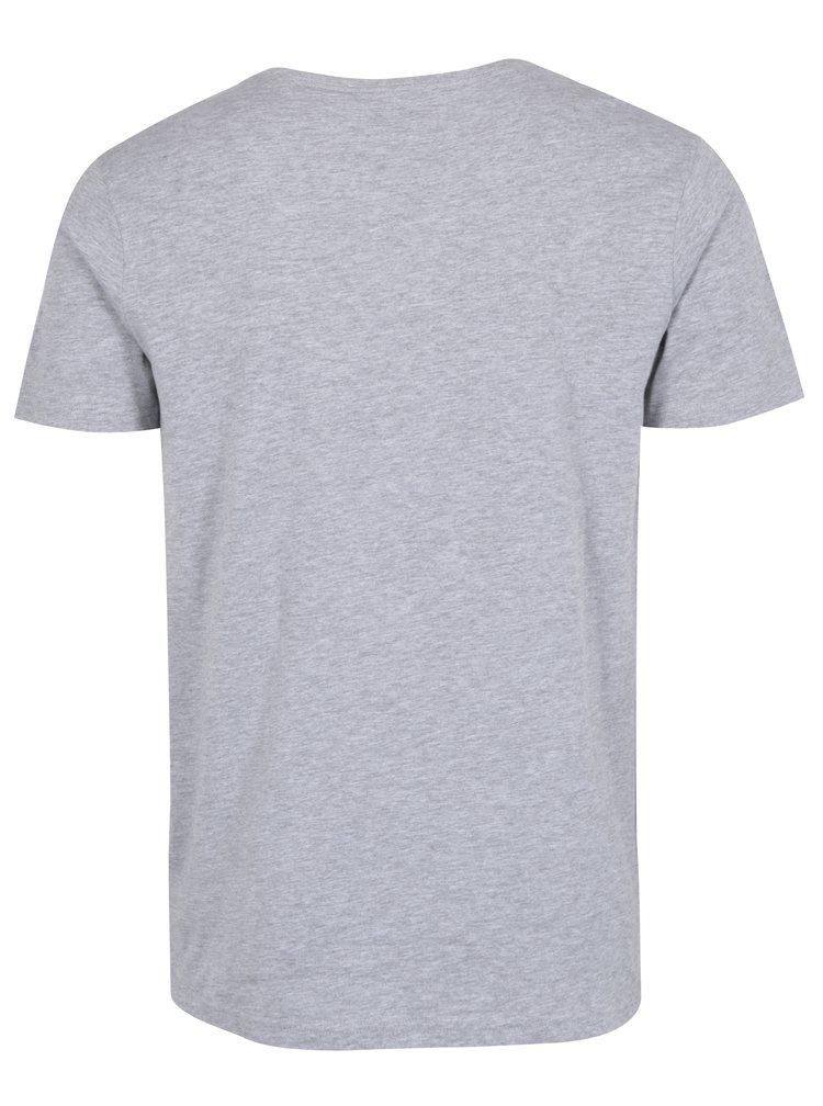 Šedé žíhané tričko s krátkým rukávem a potiskem Shine Original