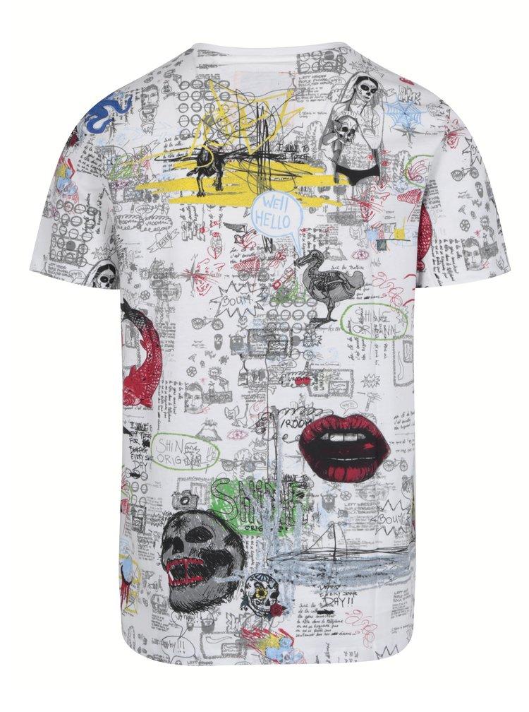 Krémové vzorované tričko s krátkým rukávem Shine Original