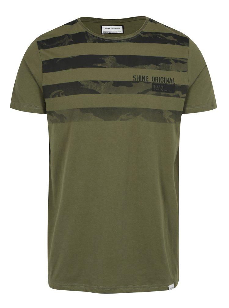 Zelené pruhované tričko s krátkým rukávem Shine Original
