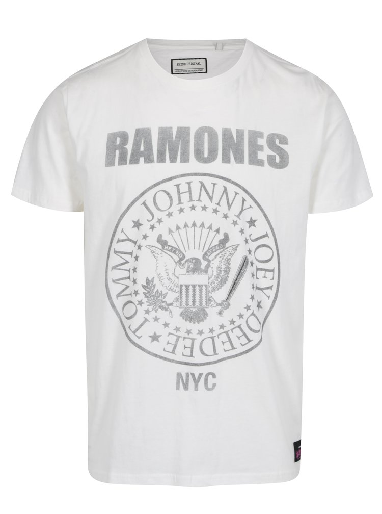 Tricou crem din bumbac cu print Ramones - Shine Original