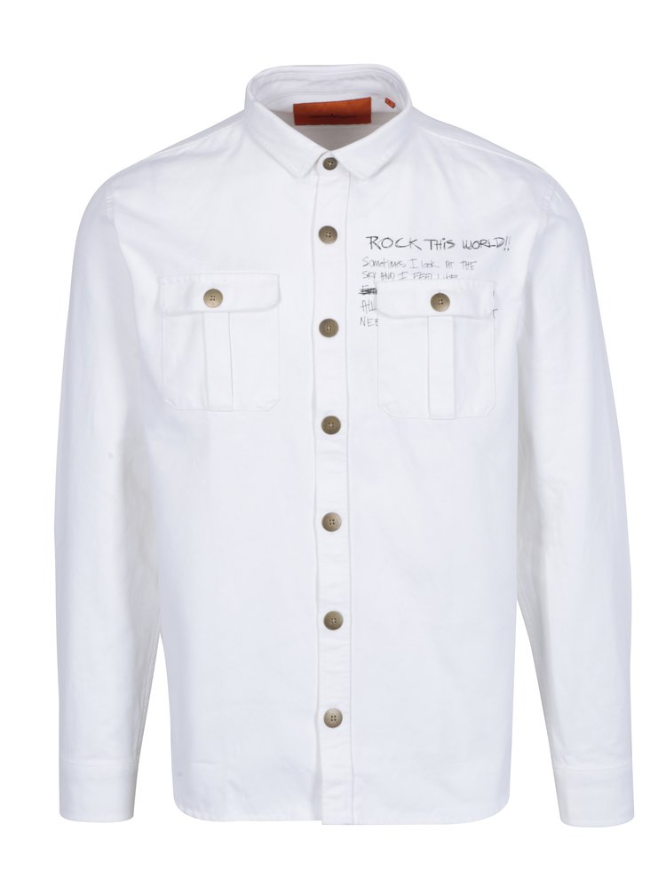 Bílá košile s potiskem na zádech Shine Original