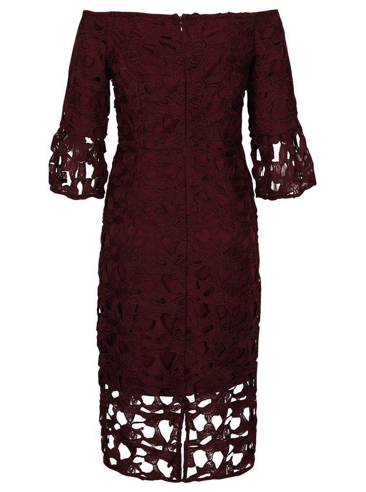 Vínové krajkové šaty s odhalenými rameny Dorothy Perkins