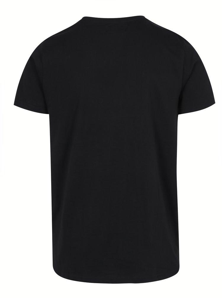 Tricou negru din bumbac cu print maimuta -  Shine Original